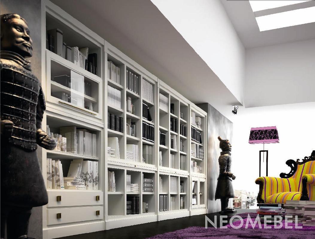 Книжный шкаф отделка белый матовый лак от la ebanisteria - c.